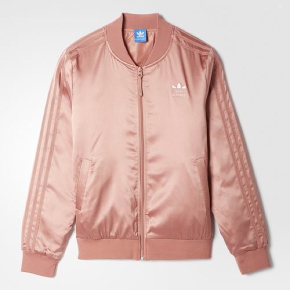 7f6e2457b3a adidas Jackets   Blazers - Adidas rose gold satin bomber jacket